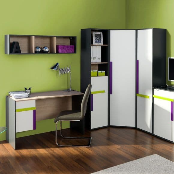 Karlo White With Graphite Effect Corner Wardrobe SZIK04